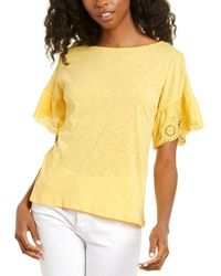 Cece By Cynthia Steffe Eyelet Knit Top - Yellow