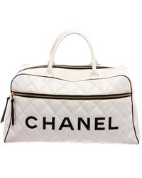 Chanel White Quilted Leather Duffle Bag