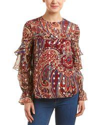 Haute Hippie Ruffle Silk-blend Blouse - Red