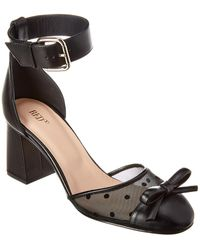 RED Valentino Ankle Wrap Leather & Mesh Pump - Black