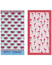 Betsey Johnson - Watermelon Picnic/flamingo Set Of 2 Strut Beach Towels - Lyst