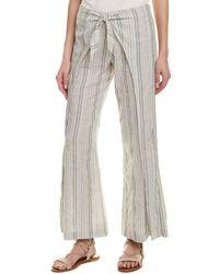4our Dreamers Tie-front Linen-blend Pant - Blue