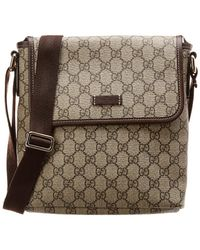 7ae838a4a1c Gucci - Brown GG Supreme Canvas   Leather Messenger Bag - Lyst
