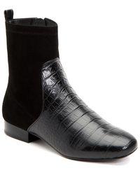 Taryn Rose Women's Floriana Suede & Crocodile - Embossed Leather Booties - Black