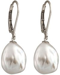 Splendid Silver Plated 11-12mm Freshwater Pearl Drop Earrings - Metallic