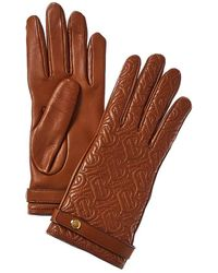 Burberry Monogram Quilted Cashmere-lined Leather Gloves - Brown