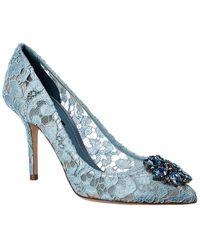 Dolce & Gabbana Bellucci 90 Embellished Taormina Lace Pump - Blue