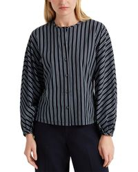 Club Monaco Stripe Combo Silk Shirt - Blue