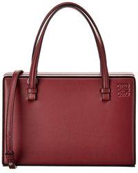 Loewe Postal Leather Satchel - Red