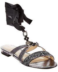 Monique Lhuillier Genna Leather Sandal - Grey