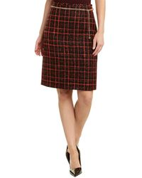 Tahari Petite Size Boucle Check Print Chain-belt Pencil Skirt - Red