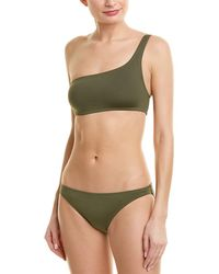 Proenza Schouler 2pc One-shoulder Bikini Set - Green