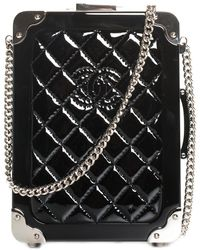 Chanel Limited Edition Black Quilted Resin Trolley Minaudiere Clutch Nm, Never Carried