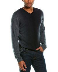 Autumn Cashmere Ombre Cashmere V-neck Sweater - Black
