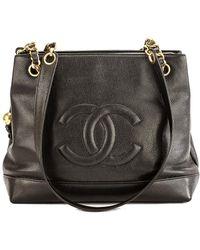 271527c3e63a90 Chanel - Black Calfskin Leather Coco Mark Chain Shoulder Bag - Lyst
