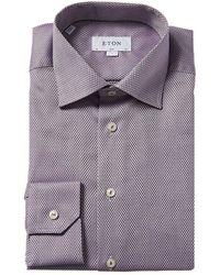Eton Textured Slim Fit Dress Shirt - Purple