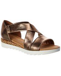 Gabor Leather Wedge Sandal - Metallic