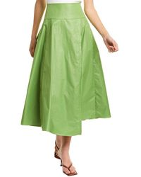 Tibi Glossy Plainweave Wrap Skirt - Green