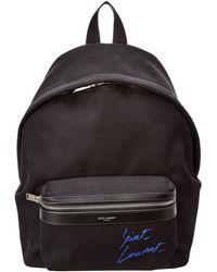 Saint Laurent Mini City Embroidered Backpack - Black