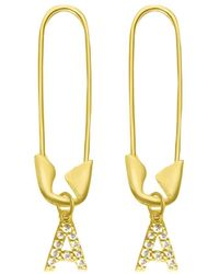 Adornia 14k Over Silver Initial Safety Pin Dangle Earrings - Metallic