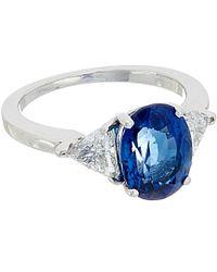 Diana M. Jewels . Platinum 3.20 Ct. Tw. Diamond & Sapphire Ring - Blue