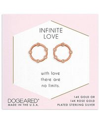 Dogeared 14k Rose Gold Over Silver Crystal Studs - Metallic