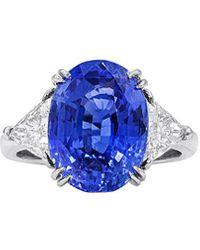Diana M. Jewels . Fine Jewellery Platinum 8.52 Ct. Tw. Diamond & Sapphire Ring - Blue