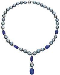 Belpearl - Silver 90.00 Ct. Tw. Tanzanite & 9-12mm Tahitian Pearl Necklace - Lyst