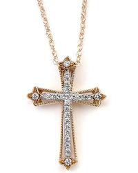 Samuel B Fine Jewelry - Samuel B. Fine Jewelry 18k Rose Gold 0.16 Ct. Tw. Diamond Cross Necklace - Lyst