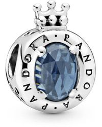 PANDORA Silver Sparkling Blue Crystal Logo Charm