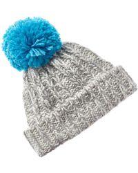 Portolano Chunky Knit Pom Wool-blend Hat - Grey