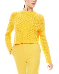 Alice + Olivia Leta Textured Wool-blend Pullover - Yellow