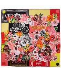 Versace Floralmania Print Silk Scarf - Pink