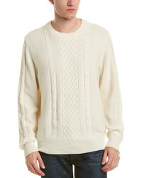 7 For All Mankind - 7 For All Mankind Cable-knit Wool-blend Crew Jumper - Lyst