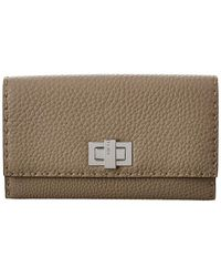 Fendi Peekaboo Leather Continental Wallet - Gray