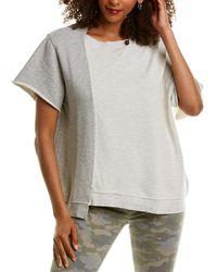 Hudson Jeans Asymmetrical Colorblock Pullover - Gray