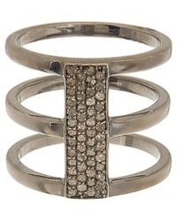 Adornia - Fine Jewelry Rhodium Plated Silver 0.40 Ct. Tw. Diamond Ring - Lyst