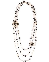 Chanel Gold-tone Faux Pearl Cc Necklace - Metallic