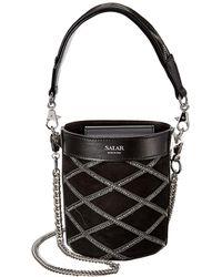 Salar Celia Strass Leather & Suede Bucket Bag - Black