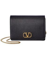 Valentino Vlogo Leather Wallet On Chain - Multicolour