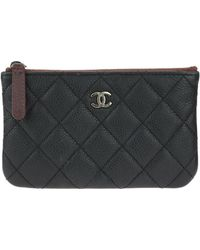 Chanel - Black Quilted Caviar Leather Mini O-case - Lyst