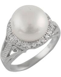 Splendid - Rhodium Over Silver 10-10.5mm Pearl Ring - Lyst