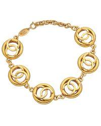 Chanel Gold-tone Icon Series Cc Pendant Bracelet - Metallic