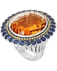 Lagos Statement Rings 18k & Silver 3.29 Ct. Tw. Citrine & Sapphire Ring - Metallic