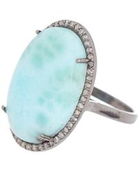 Adornia - Fine Jewelry Rhodium Plated Silver 13.00 Ct. Tw. Diamond & Larimar Cocktail Ring - Lyst