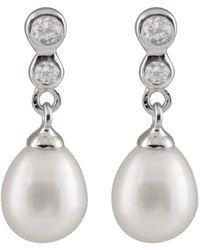 Splendid Rhodium Over Silver 7-8mm Pearl Earrings - Metallic