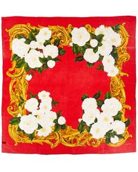 Chanel Red Flower Printed Silk Scarf