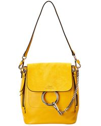 Chloé Faye Small Leather & Suede Backpack - Yellow