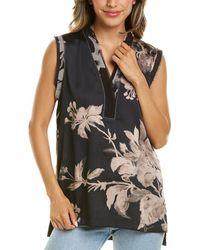 Donna Karan Sleeveless V-neck Top - Black