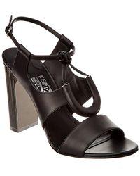 Ferragamo Galilea Leather Sandal - Black